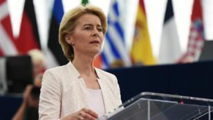 Ursula von der Leyen lors de son discours de candidature à la présidence de la Commission européenne, le 16 juillet 2019 à Strasbourg.