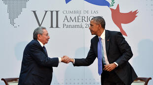 US President Barack Obama shakes hands with Cuba's President Raul Castro on the sidelines of the Summit of the Americas on April 11.