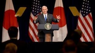 نائب الرئيس الأمريكي مايك بنس في طوكيو الأربعاء 19 نيسان/أبريل 2017