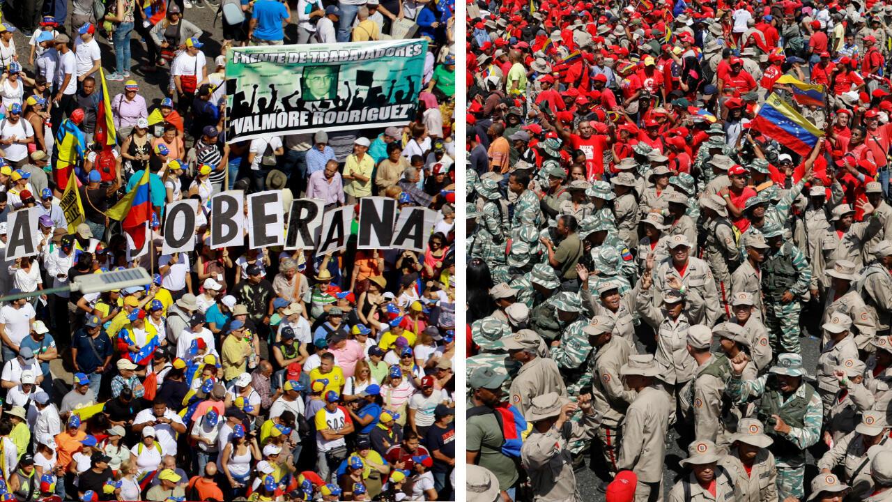 Dos marchas multitudinarias se llevan a cabo en Caracas, Venezuela: una oficialista, en apoyo al presidente Nicolás Maduro (derecha) y otra de la oposición, liderada por el proclamado presidente interino, Juan Guaidó (izquierda). 2 de febrero de 2019.