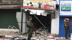 Un des commerces mis à sac par les émeutes anti-musulmans dans la province de Minuwangoda.
