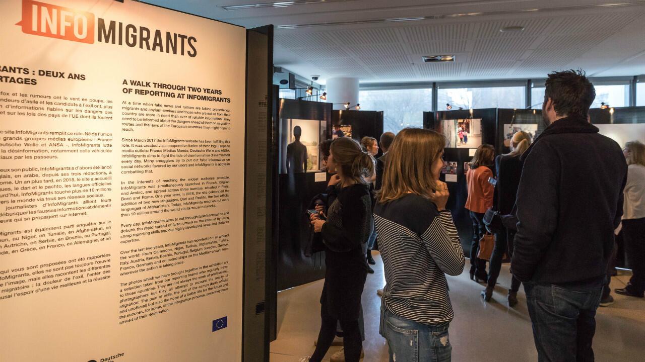 L'exposition InfoMigrants.