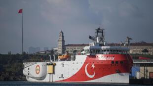 سفينة المسح الزلزالي التركية عروج ريس في اسطنبول في آب/أغسطس 2019