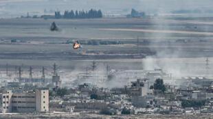 La localité frontalière syrienne de Ras al-Aïn, le 13 octobre2019.