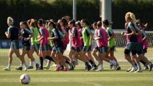 Les joueuses de l'équipe du FC Barcelone, le 15 avril 2019 à l'entraînement.