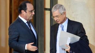 François Hollande et Claude Bartolone, photographiés le 20 janvier 2016, à Paris.