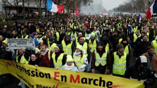 Manifestación del movimiento de los 'chalecos amarillos' en las calles de París, Francia. 26 de enero de 2019.