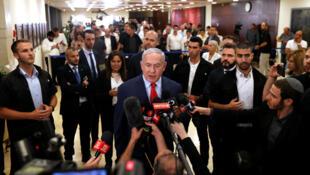 El primer ministro de Israel, Benjamin Netanyahu, habla a los medios de comunicación en la Knesset, el parlamento de Israel, el 29 de mayo de 2019.