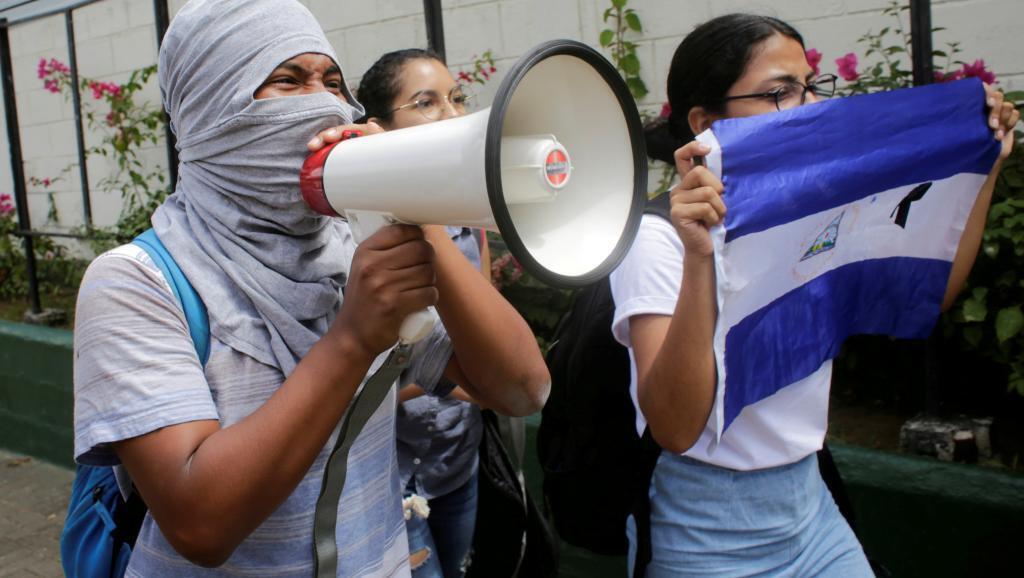 Marcha de estudiantes contra el gobierno de Daniel Ortega, en Managua, el 1 de marzo de 2019.