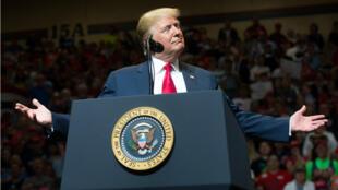 Le président américain Donald Trump à un meeting à Elkhart, dans l'Indiana, le 10 mai 2018.
