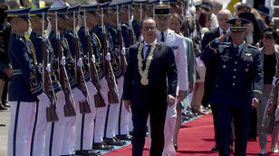 French President François Hollande arrives in Manila on the start of a two-day visit to the Philippines on Thursday February 26, 2015