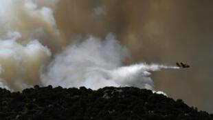 Incendio en la región de Cenicientos, en el centro de España. 29 de junio de 2019.