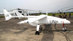 A UN drone recharges at the MONUSCO base in Goma, eastern Democratic Republic of Congo