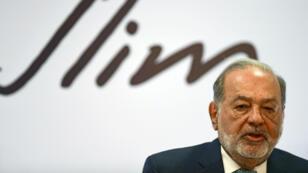 El magnate mexicano Carlos Slim durante una conferencia de prensa el 16 de abril de 2018, en la Ciudad de México, México.