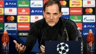 L'entraîneur du PSG Thomas Tuchel en conférence de presse à Old Trafford le 11 février 2019 veille du match face à Manchester United en Ligue des champions