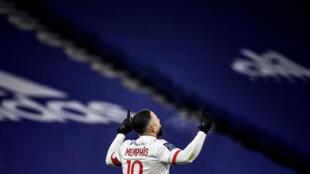 L'attaquant néerlandais de Lyon, Memphis Depay, auteur d'un doublé lors du match de Ligue 1 à domicile contre Lens, le 6 janvier 2021