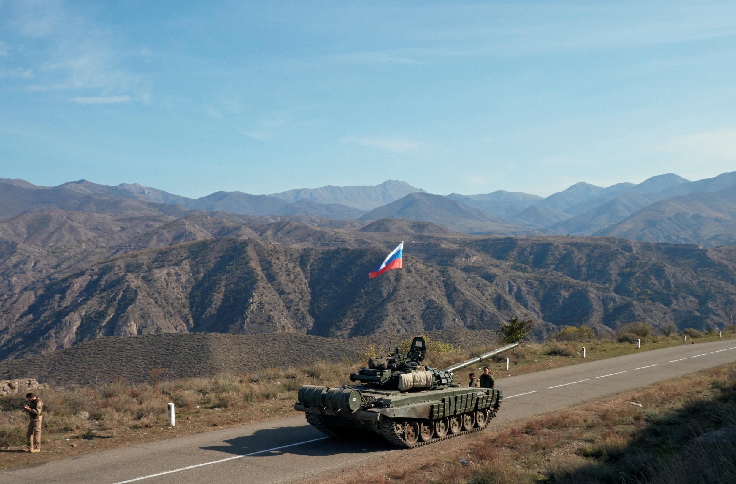 Russian peacekeeping troops near the border with Armenia, following the signing of a ceasefire between Azerbaijan and Armenian forces, in the Nagorno-Karabakh region on 10 November 2020.
