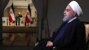 Le président iranien, Hassan Rohani, lors d'une interview sur la télévision iranienne, le 6 août 2018.