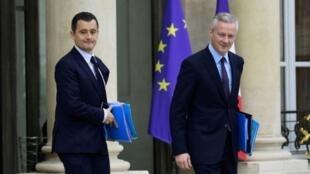 وزير المالية الفرنسي جيرالد دارمانان ووزير الاقتصاد برونو لومير