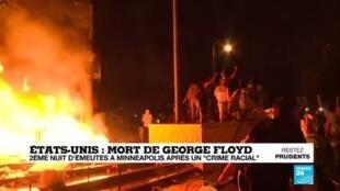 """2020-05-29 08:01 Deuxième nuit d'émeutes aux États-Unis après le """"crime racial"""" de Minneapolis"""