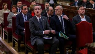 Los 12 líderes independentistas en una fotografía del juicio que tuvo lugar, en Madrid, España, entre el 12 de febrero y 12 de junio de 2019.
