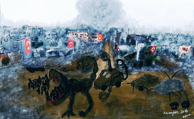 A drawing of the devastation of Nusaybin that landed the Kurdish artist, activist and journalist Zehra Dogan in jail.