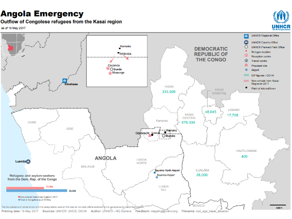 Outflow of refugees from Kasai to Angola