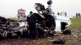 Les restes de l'appareil de Christophe de Margerie à l'aéroport de Vnoukovo de Moscou, le 21 octobre 2014