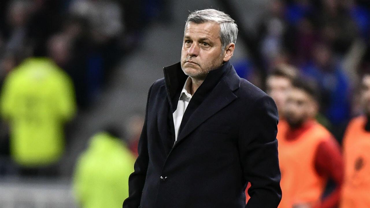 Bruno Genesio, plus que jamais menacé sur le banc de l'Olympique Lyonnais.
