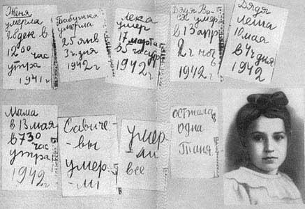 A portrait of Tania Savitcheva with notes from her wartime diary.