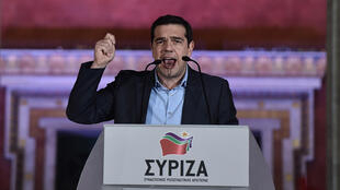 Syriza leader Alexis Tsipras delivers a victory speech to supporters in Athens.