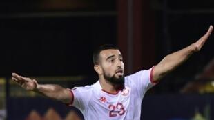 Le Tunisien Naim Sliti buteur contre Madagascar en quart de finale de la CAN, le 11 juillet 2019 au Caire