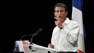 Manuel Valls, lors de son discours prononcé lundi 29 août à Colomiers, près de Toulouse.