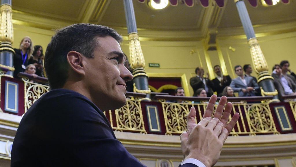 Le socialiste Pedro Sanchez le 1er juin, lors du vote de la motion de censure contre Mariano Rajoy.
