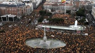 The protest comes just two days before the high-profile trial of Catalan separatist leaders in Madrid
