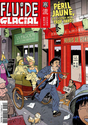 """The February 2015 issue of Fluide Glacial mocking the supposed """"Yellow peril"""" threatening France."""