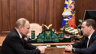 Russian President Vladimir Putin meets with Prime Minister Dmitry Medvedev in Moscow, Russia January 15, 2020.