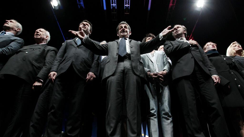 Le président de l'UMP, Nicolas Sarkozy, lors d'un meeting politique, le 22 avril 2015 à Nice.