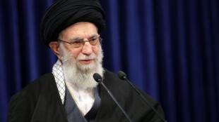 Supreme Leader Ayatollah Ali Khamenei addresses the nation in a televised speech in Tehran, Iran, Friday, Jan. 8, 2021. in Tehran, Iran.