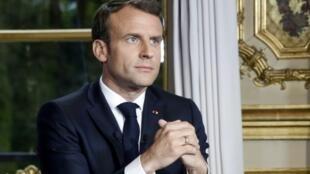 Emmanuel Macron à l'Elysée après son allocution sur Notre-Dame de Paris, le 16 avril 2019