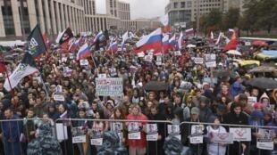 مظاهرات في موسكو احتجاجا على رفض ترشيحات مرشحي المعارضة للانتخابات المحلية. 10 آب/أغسطس 2019