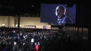 La foule attend l'arrivée de Barack Obama sur scène à Chicago pour son dernier discours en tant que président des États-Unis, mardi 10 janvier 2017.