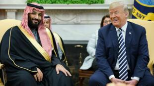Le prince héritier saoudien reçu par le président américain lors de sa visite à Washigton le 20 mars 2018.