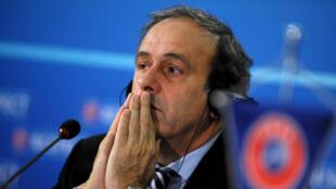 Michel Platini lors d'une réunion de l'UEFA, le 28 mars 2013 à Sofia, en Bulgarie.