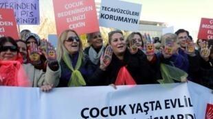 مظاهرة ضد مشروع قانون يلغي إدانة مرتكبي الاعتداءات الجنسية على قاصر الذين يتزوجون ضحاياهم في 22 تشرين الثاني/نوفمبر 2016
