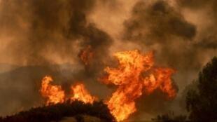 """صورة حريق """"مندوسينو كومبليكس"""" قرب كليرليك أوكس بولاية كالفورنيا غرب الولايات المتحدة، 5 آب/اغسطس 2018"""