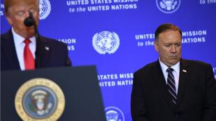 Le président américain Donald Trump et le secrétaire d'État Mike Pompeo lors d'une conférence de presse à New York le 25 septembre 2019 en marge de l'Assemblée générale des Nations Unies.