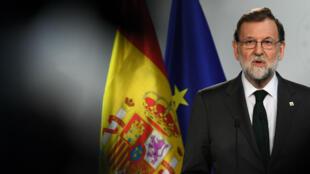 Le Premier ministre espagnol, Mariano Rajoy, en conférence de presse, à Bruxelles, le 20octobre 2017.