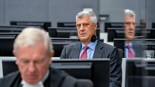 Former Kosovo President Hashim Thaci, who resigned and was taken into custody of a war crimes tribunal, appears for the first time before the Kosovo Specialist Chambers in The Hague, Netherlands November 9, 2020.