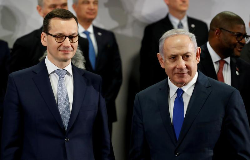 رئيس الوزراء البولندي ماتوش مورافيتسكي والإسرائيلي بنيامين نتانياهو خلال مؤتمر واسو - 14 فبراير/شباط 2019